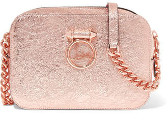 Christian Louboutin Rubylou Metallic Textured-leather Shoulder Bag - Pink