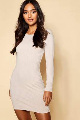 boohoo Petite Sleeve Rib Knit Bodycon Dress