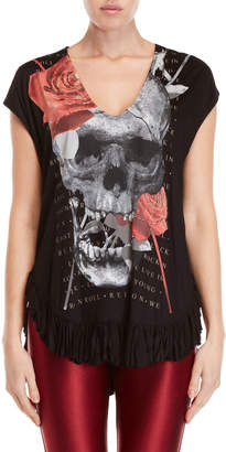 Religion Black Tranquil Ruffled Graphic Tee