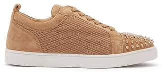 Christian Louboutin - Louis Junior Suede And Mesh Low Top Trainers - Mens - Brown