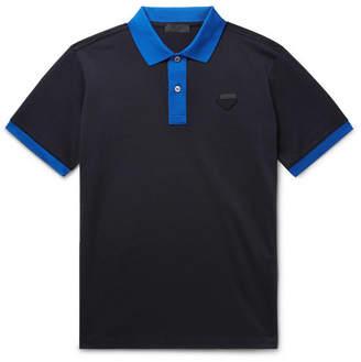 1016d139 Prada Logo-Appliquéd Contrast-Tipped Cotton-Piqué Polo Shirt