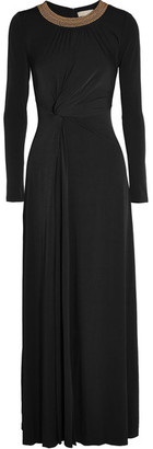 MICHAEL Michael Kors - Twist-front Studded Stretch-jersey Gown - Black $255 thestylecure.com