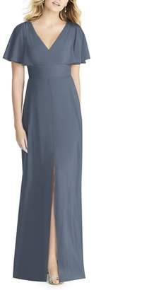 Social Bridesmaids Split Sleeve Chiffon Gown