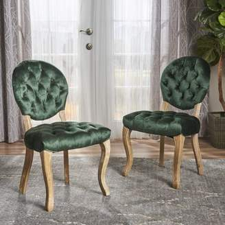 Noble House Adele Tufted Velvet Dining Chairs, Set of 2, Emerald, Natural