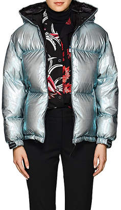 Prada Women's Holographic Hooded Down Puffer Jacket - Green