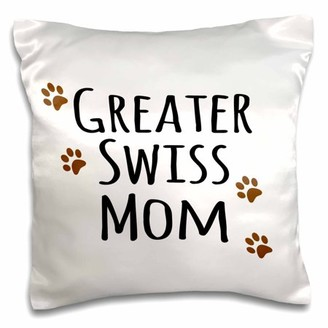 Breed 3dRose Greater Swiss Mom - Greater Swiss Mountain Dog - Doggie by brown paw prints doggy lover owner - Pillow Case, 16 by 16-inch