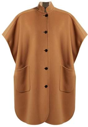 Burberry Reversible Wool Blend Poncho - Womens - Camel