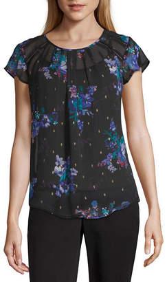 Liz Claiborne Womens Round Neck Short Sleeve Woven Blouse