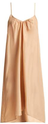 Loup Charmant - V Neck Silk Slip Dress - Womens - Nude