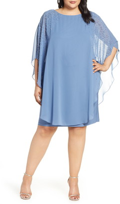 Xscape Evenings Beaded Chiffon Overlay Dress