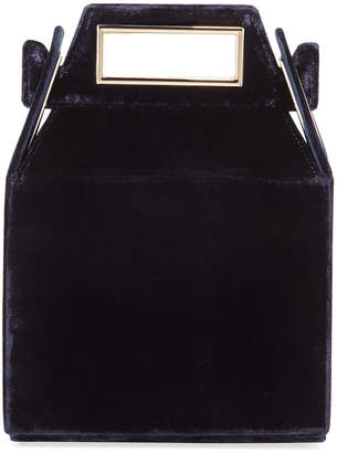 Pop & Suki Velvet Takeout Top Handle Bag Dark Blue