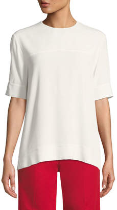 Derek Lam Jewel-Neck Short-Sleeve Georgette Blouse with Cuff Detail