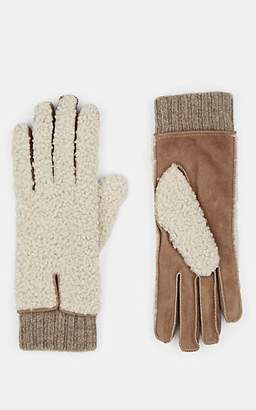 Barneys New York Women's Extended-Cuff Shearling & Suede Gloves - Beige, Tan