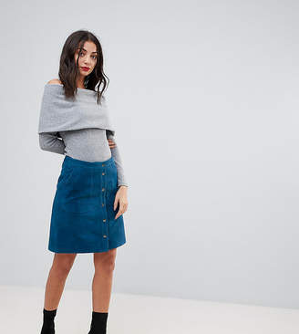 Y.A.S Tall Popper Detail Suede Skirt