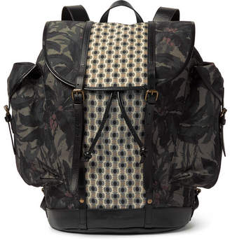 Dries Van Noten Leather-Trimmed Printed Canvas Backpack