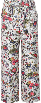 Tory Burch - Gabriella Cropped Printed Silk-satin Wide-leg Pants - Ivory $295 thestylecure.com