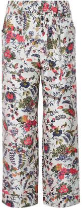 Gabriella Cropped Printed Silk-satin Wide-leg Pants - Ivory