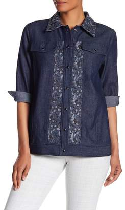 Anna Sui Bird & Rose Jacquard Denim Jacket