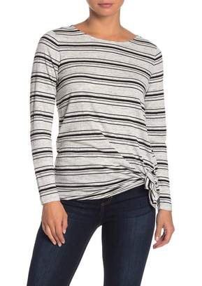 Max Studio Long Sleeve Striped Tie Front Tunic