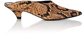 Proenza Schouler Women's Kitten-Heel Stamped Leather Mules-Brown