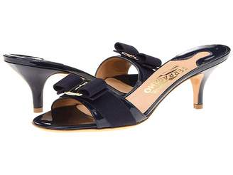 Salvatore Ferragamo Patent Leather Kitten Heel Sandal
