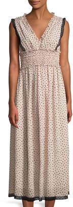 Max Studio Polka Dot Smocked-Waist Maxi Dress