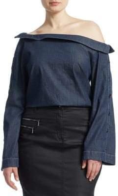 Marina Rinaldi Ashley Graham x Off-The-Shoulder Stretch Denim Top