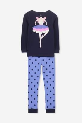 Cotton On Shae Girls Long Sleeve Waffle Pyjama Set