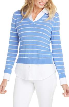 Foxcroft Dana Stripe Mix Media Top