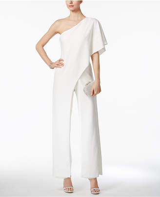 Adrianna Papell Draped One-Shoulder Jumpsuit $199 thestylecure.com