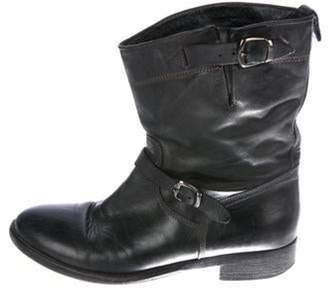 Belstaff Leather Round-Toe Boots Black Leather Round-Toe Boots