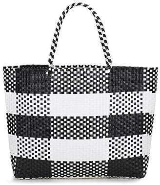 inOne Large Capacity Plaid Check Tote Handbag Handmade Woven PP Beach Basket Bag