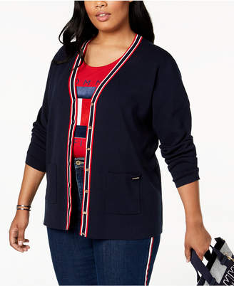 Tommy Hilfiger Plus Size Cotton Color-Tipped Cardigan, Created for Macy's