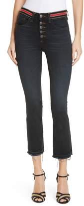 Veronica Beard Carolyn Stripe Waist Crop Flare Jeans