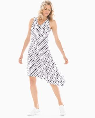 Soft Jersey Asymmetrical Hem Midi Dress Amity Stripe White