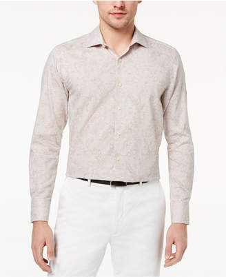 Tallia Men's Slim-Fit Tropical-Print Dress Shirt