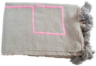 One Kings Lane Moroccan Pom-Pom Blanket - Gray/Pink