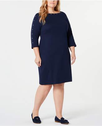 Karen Scott Plus Size Cotton Boat-Neck Studded Dress