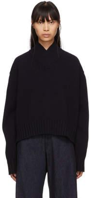 Studio Nicholson Navy Kelvin V-Neck Sweater