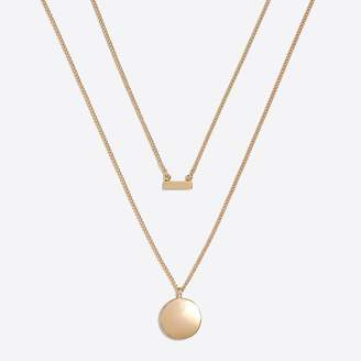 J.Crew Factory Gold disc and bar layering necklace