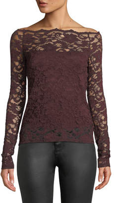 Bailey 44 Black Site Lace Off-Shoulder Top