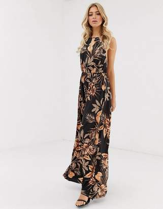 Asos Design DESIGN palm printed halter maxi dress with cut out detail