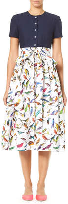 Carolina Herrera Bird-Print Short-Sleeve Solid Top and Full Skirt Dress
