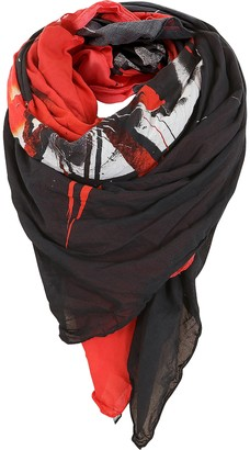Balmain Black and Red Cotton Printed Oversized Scarf