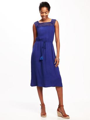 Crochet-Yoke Linen-Blend Midi for Women $44.94 thestylecure.com