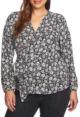 1 STATE 1.STATE Plus Wild Blooms Wrap-Front Blouse