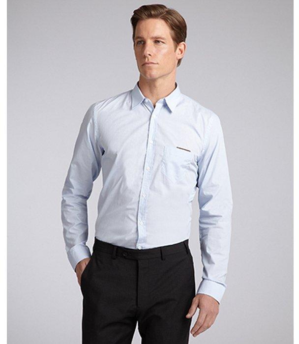 Gucci Light Blue Pinstripe Cotton Button Front Dress Shirt