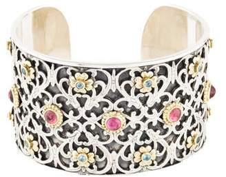 Konstantino Tourmaline & Topaz Filigree Cuff Bracelet