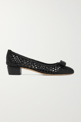 Salvatore Ferragamo Vara Bow-embellished Woven Leather Pumps