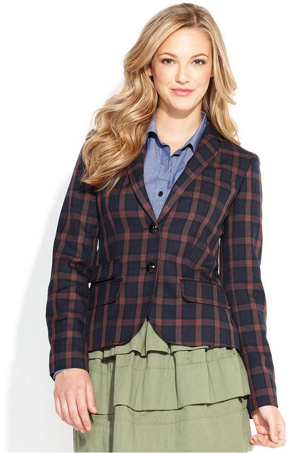 QMack Jacket, Long-Sleeve Plaid Blazer